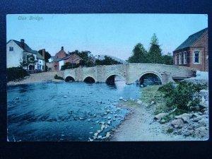 Shropshire CLUN BRIDGE showing TEMPERANCE HALL c1906 Postcard PM CLUN DUPLEX 077