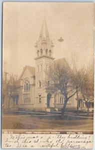 Wayne, Nebraska RPPC Photo Postcard FIRST PRESBYTERIAN CHURCH Street View 1907