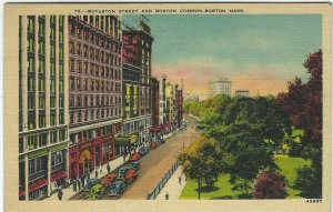 Vintage postcard, Roylston Street And Boston Common, Boston, Mass