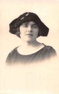 Vintage Fancy Hat Woman Lady Portrait, Postcard
