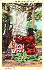 How Navajo Indian Rugs Are Made Vintage Postcard Standard View Card