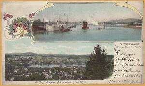 Portland, Oregon - Portland Harbor & Mt. Hood - 1906