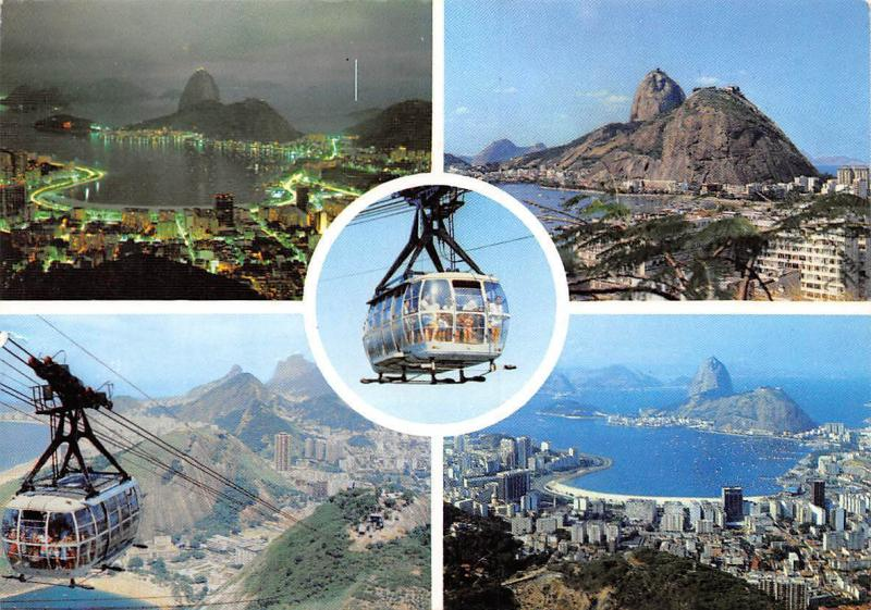 Brazil Rio de Janeiro Several sights of Sugar Loaf Cable Car Lift Panorama