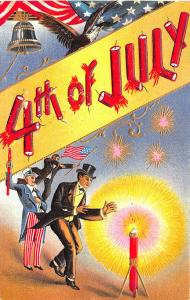 Patriotic July Fourth Uncle Sam Rocket Fire Crackers Embossed Postcard 18