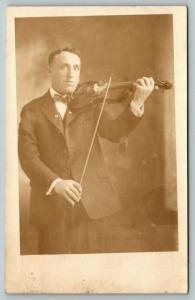 RPPC Violinist Wearing Bowtie is Ready For The Big Concert~Studio Shot~c1914