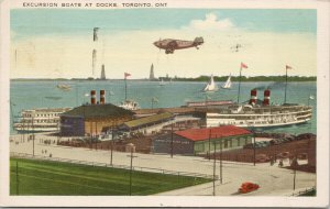 Excursion Boats at Docks Toronto Ontario c1941 Postcard F23