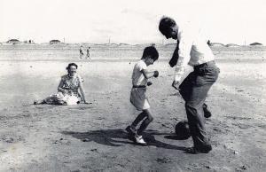 Nostalgia Postcard 1950's Stanley Matthews on the Beach at Blackpool Repro NS9