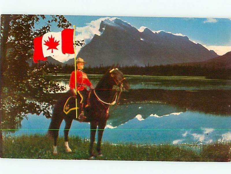 Vintage Post Card Canadas Pride Mounted Police Flag Horse Lake  Canada  # 3869