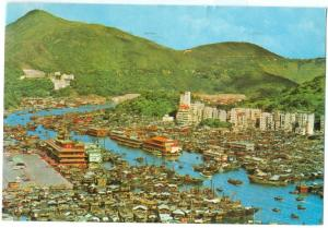 Hong Kong, Bird's eye view of Aberdeen, 1986 used Postcard