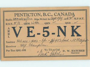 1930s QSL RADIO CARD Penticton In Okanagan Valley British Columbia BC AH3146