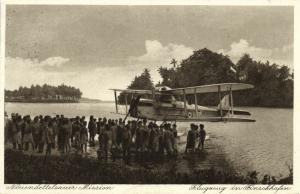 german new guinea, FINSCHHAFEN, Morobe, Seaplane, Papua Natives (1933) Mission