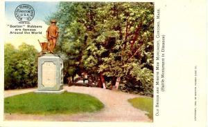 MA - Concord. Old Bridge & Minuteman Monument.  Advertisement for Boston Rubb...