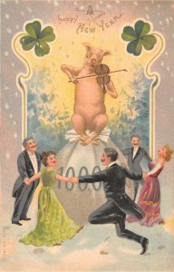 New Year Greetings Pig Playing Violin on Money Bag People Dancing PC JJ649004