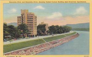 Kanawha Blvd, and Kanawha River, showing United Carbon Building & Riverview A...