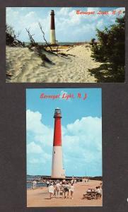 NJ Lot 2 Barnegat Lighthouse Light NEW JERSEY Postcards Carte Postale