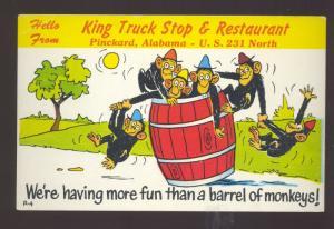 PINCKARD ALABAMA KING TRUCK STOP RESTAURANT ADVERTISING MONKEY POSTCARD