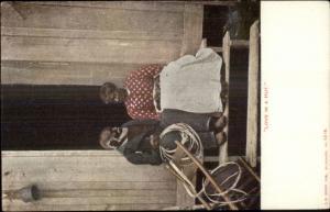 Black Americana - Happy Old Couple LOVE IN A HUT c1905 Postcard