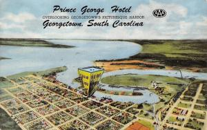 Georgetown SC Exaggerated Prince George Hotel in Aerial View~Crane & Harbor 1951