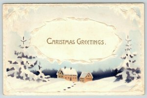 Christmas~Purple Snow Covered Pines~Blue Sky~Tan Homes~White~Emboss~Airbrushed