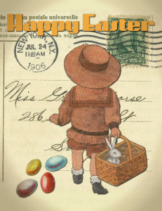 Single (1), Hand-designed Postcard with Little Girl and Jelly Beans for Easter