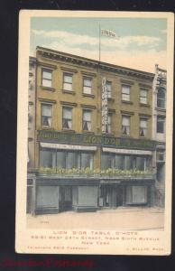 NEW YORK CITY LION D'OR TABLE D'HOTE RESTAURANT VINTAGE ADVERTISING POSTCARD