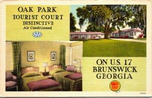1954 Oak Park Tourist Court Interior Entrance Brunswick Georgia Postcard
