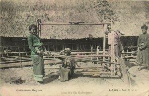 PC CPA LAOS, JEUNE FILLE KHA KOUÉNE TISSANT, Vintage Postcard (b26721)