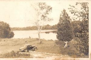 Lake Ann Michigan~Bellow Lake-Roberts Landing~50s Car~Minnows/Worms Sign~RPPC
