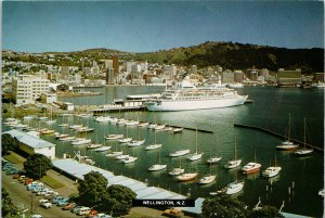 Wellington New Zealand NZ Ship Boats Unused Postcard C5