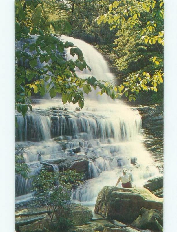 Unused Pre-1980 WATERFALL SCENE Between Saluda & Tryon North Carolina NC E4315