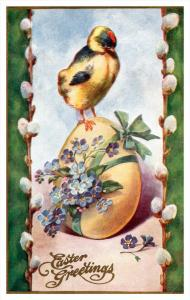 3701   Easter   Chick standing on flowered egg