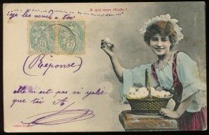 Girl selling eggs. Bergeret hand tinted real photo. Pre-1910. A qui mes Oeufs?