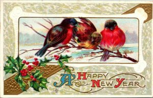 Vintage Postcard Happy New Year Birds Holly Snow 1912 King City Salinas CA  984