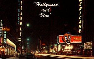 California Hollywood Hollywood Boulevard and Vine At Night 1963