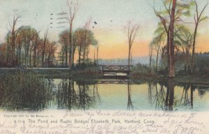HARTFORD, Connecticut, PU-1907; Pond & Rustic Bridge, Elizabeth Park