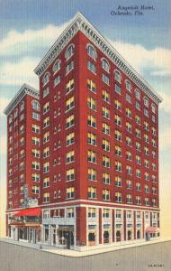 ORLANDO, FL Florida  ANGEBILT HOTEL  Roadside  c1940s Curteich Linen Postcard