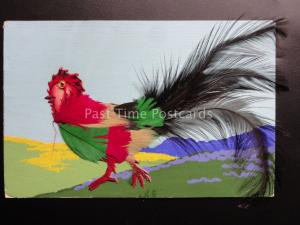 Novelty Postcard: Chicken / Hen / Cockerel WITH REAL FEATHERS - Old Postcard