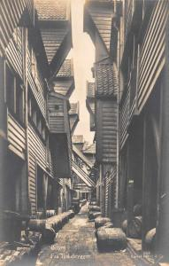 Bergen Norway Tyskebryggen Street Scene Alleyway Real Photo Postcard J80607