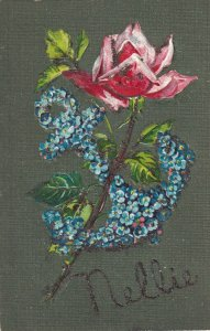 STILL LIFE, Red Rose & Forget-Me-Nots Anchor, NELLIE in glitter, 1900-10s