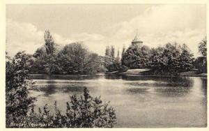 Vivjerpark Park Breda Dutch Holland River Lake WW2 Wartime Postcard