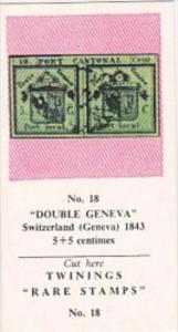 Twinings Tea Trade Card Rare Stamps No 18 Double Geneva Switzerland 1843
