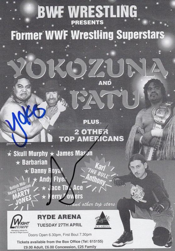 WWE Yokozuna & Fatu Hand Signed Wrestling Isle Of Wight Flyer