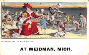 Weidman Michigan~Busy Victorian Moms at Beach~All Your Troubles Be Little~1908