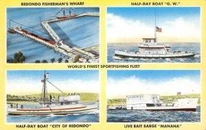 REDONDO BEACH Fisherman's Wharf Sportfishing Fleet Boats c1950s Vintage Postcard