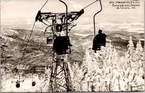 RPPC Woman on Mt Mansfield Ski Lift Smugglers Notch Stowe VT c1954 Postcard L13