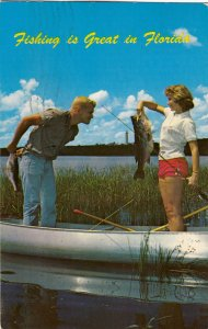 P1734 1957 used pc woman catches bigger largemouth bass then the man embarrassed