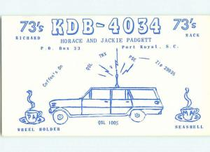 comic - QSL HAM RADIO CARD Port Royal South Carolina SC t1104