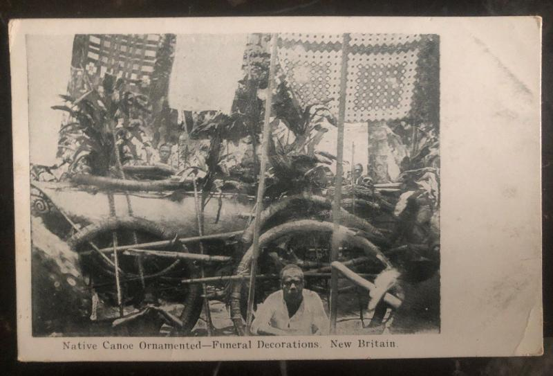 Mint Papua New Guinea Real Picture Postcard RPPC Native Canoe Ornamented Funeral