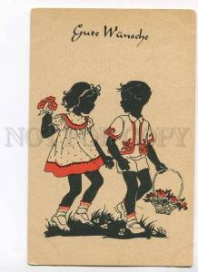 279647 Greeting SILHOUETTE Kids w/ Flowers Vintage German PC