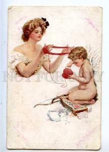 233364 Lady w/ Nude CUPID Toils by Harrison FISHER old RISHAR